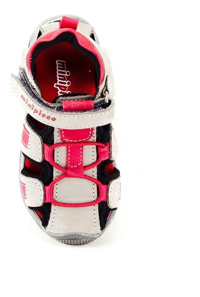 Minipicco Unisex Çocuk Gri Deri Sandalet