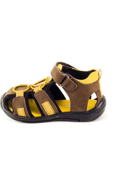 Minipicco Unisex Çocuk Kahve Sarı Deri Sandalet