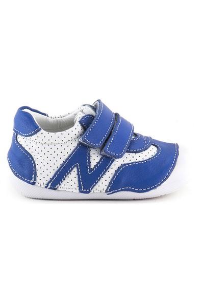 Minipicco Unisex Bebek Sax Beyaz Deri İlk Adım Ayakkabı