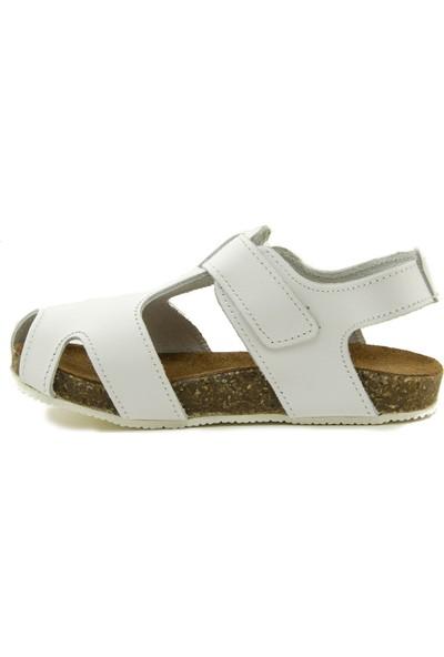 Minipicco Unisex Çocuk Beyaz Deri Sandalet