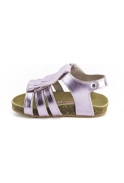 Minipicco Kız Çocuk Pembe Deri Sandalet
