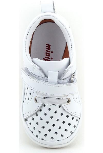 Minipicco Unisex Çocuk Beyaz Deri Ayakkabı
