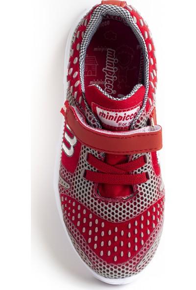 Minipicco Unisex Çocuk Gri Kırmızı Spor Ayakkabı