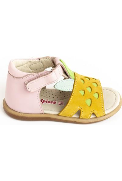 Minipicco Kız Çocuk Sarı Deri Sandalet
