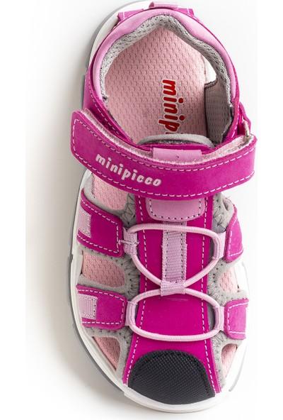 Minipicco Unisex Çocuk Fuşya Deri Outdoor Sandalet