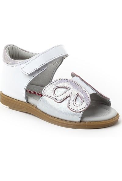 Minipicco Kız Bebek Beyaz Deri İlk Adım Sandalet