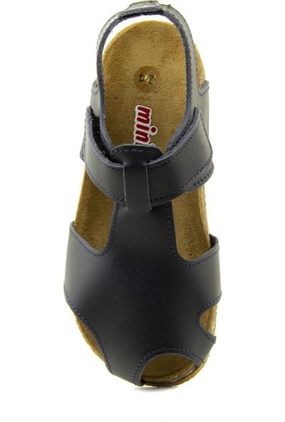 Minipicco Unisex Çocuk Lacivert Deri Sandalet