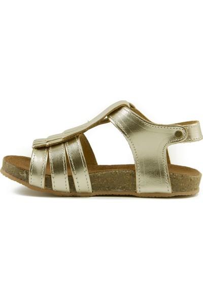 Minipicco Kız Çocuk Altın Deri Sandalet