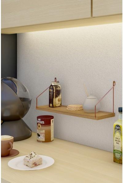 CatchMe Duvar Rafı 3'lü Set Kitaplık Mutfak Banyo Yaşam Alanı Rose Gold Kol