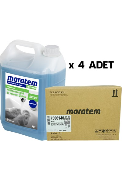 Maratem M102 Parfümlü Antibakteriyel El Yıkama Ürünü - 5 L*4 Adet (Kolisiyle Satıştadır)