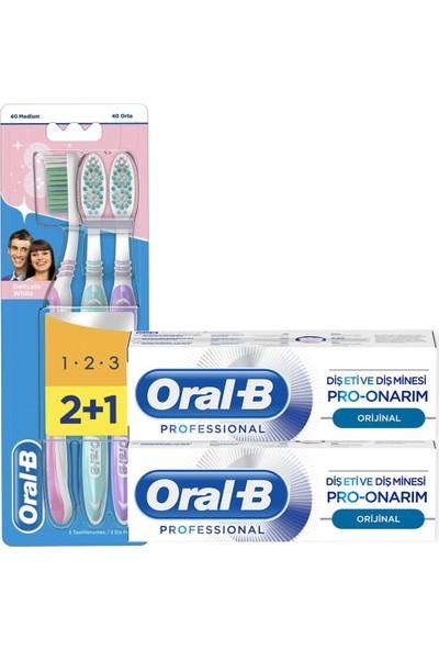 Oral-B Diş Eti ve Diş Minesi Pro Onarım 50 ml x 2 Oral-B Delicate White 2+1 Diş Fırçası