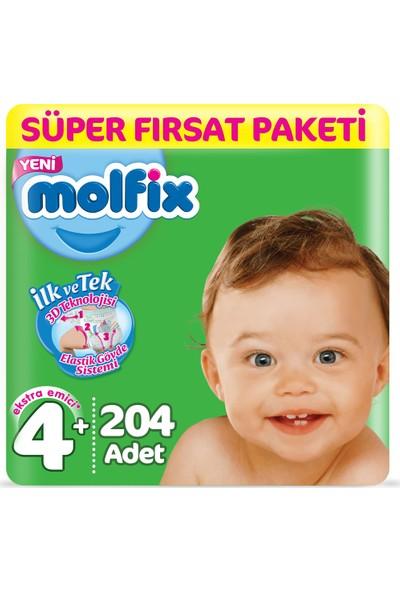 Molfix Bebek Bezi 4+ Beden Süper Fırsat 9-16 Kg (3*68) 204 9-16 Kg
