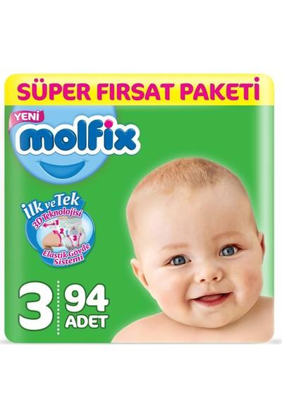 Molfix Bebek Bezi 3 Beden Süper Fırsat Paketi 4-9 Kg 94 4-9 Kg