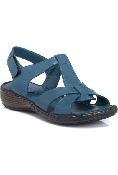 Tergan K.Mavi Deri Kadın Sandalet 64357J51