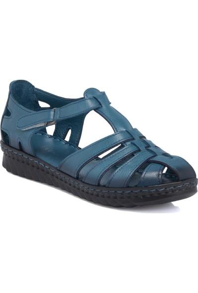 Tergan Kot Mavi Deri Kadın Ayakkabı 64345K67