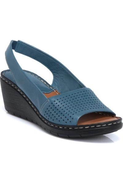 Tergan Kot Mavi Deri Kadın Sandalet 64337K67