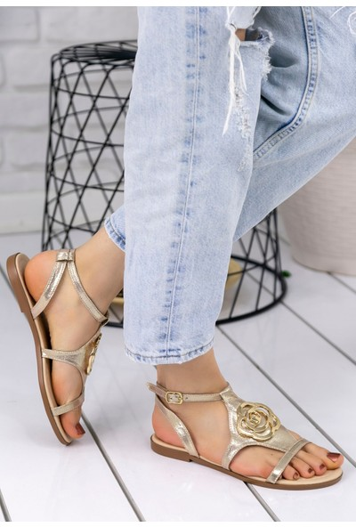 Erbilden Pink Gold Cilt Sandalet