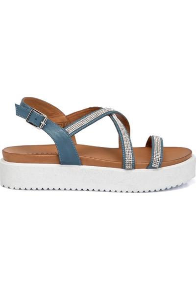 Tergan Mavi Deri Kadın Sandalet 64837J61