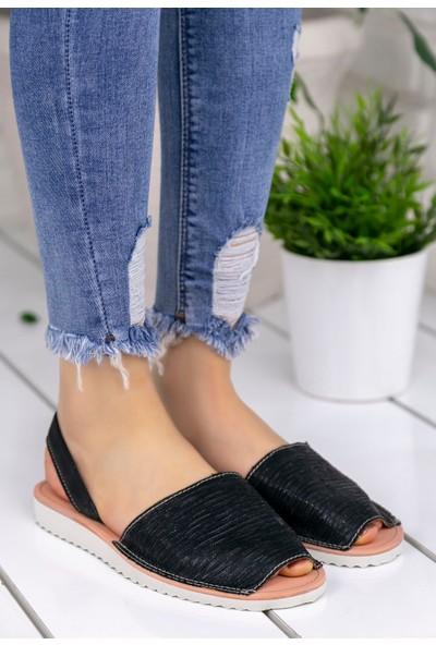 Erbilden Samiye Siyah Cilt Sandalet