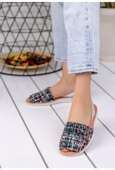 Erbilden Samiye Siyah Kadife Renkli Sandalet
