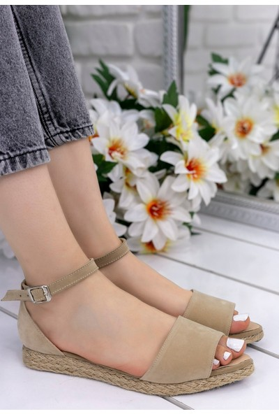 Erbilden Zanra Vizon Süet Sandalet