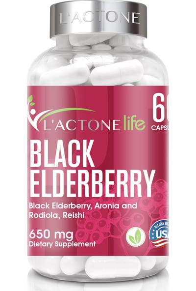 L'actonelife Siyah Elderberry 650 mg / 60 Kapsül