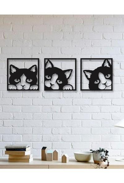 Tsd Dekorasyon 3D Kedi Figürlü Mdf Tablo