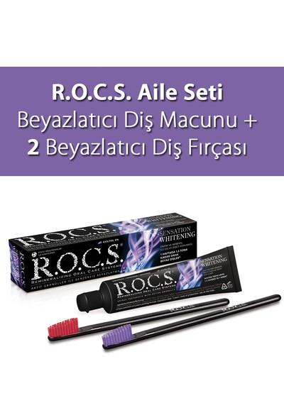 Rocs R.o.c.s. Sensation Whitening Beyazlatıcı Diş Macunu ve 2 Diş Fırçası Aile Seti