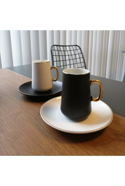 Biev Siyah Beyaz 6'lı Kahve Fincan Takımı