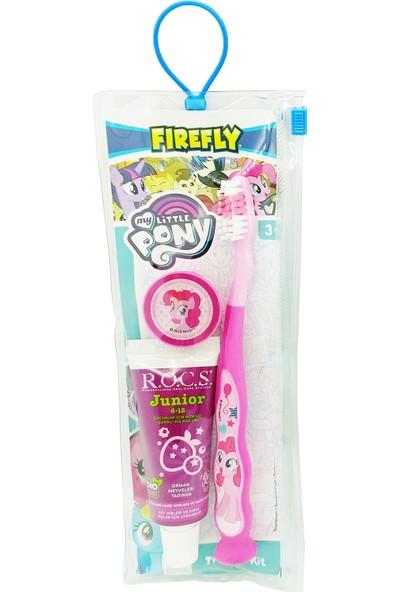 Rocs Junior Diş Macunu ve My Little Pony Diş Fırçası Çantalı Seyahat Seti - Pembe