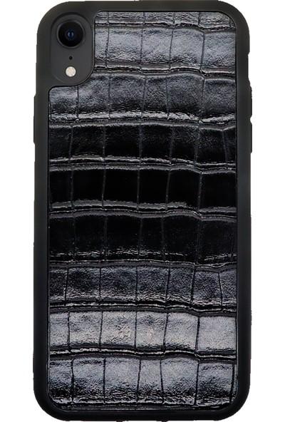 AksesuarLab Apple iPhone XR Premium Deri Kılıf - Silikon Kılıf Siyah