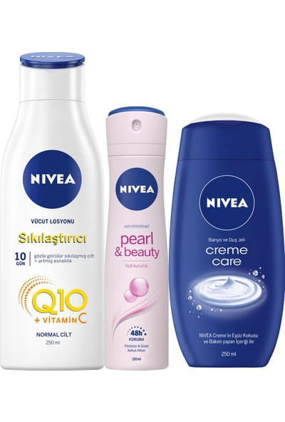 Nivea Q10 Fırmıng 250 ml + Nivea Pearl Beauty Sprey 150 ml + Nivea Crème Care 250 ml Duş Jeli