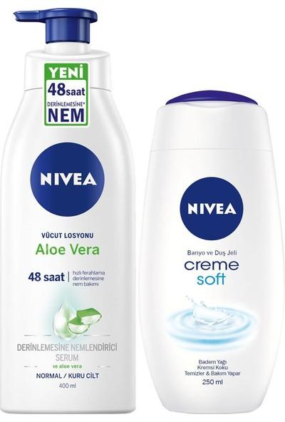 Nivea Nbody Pump Aloe Vera Lsyn 400ML + Nıvea Duş Jeli Crème Soft 250 ml