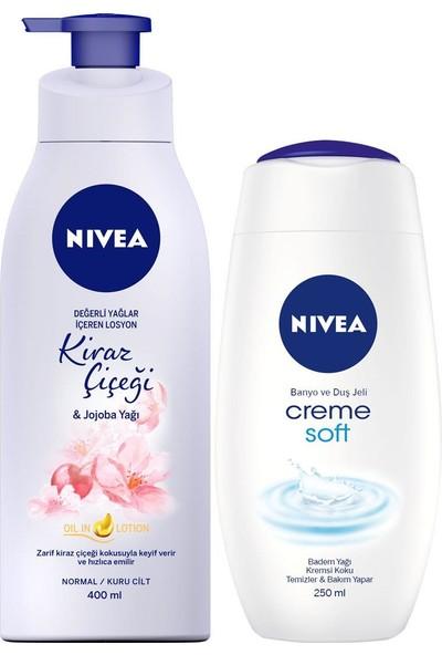 Nivea Nbody Pump Kıraz Çiçeği&jojoba Yağı Lsyn + Nıvea Duş Jeli Crème Soft 250 ml