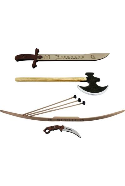 Ahtek Süper 4'lü Set, Ahşap Ok Yay + Balta + Bıçak + Kılıç Seti