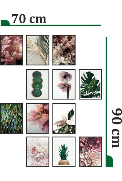 Dekorasna 12 Parça Çerçeve Görünümlü Mdf Tablo RMD07