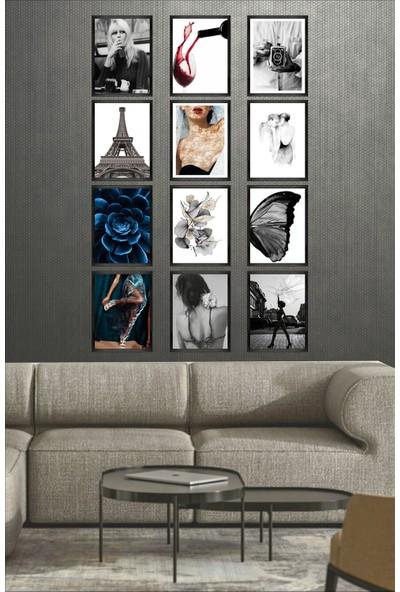 Dekorasna 12 Parça Çerçeve Görünümlü Mdf Tablo RMD18