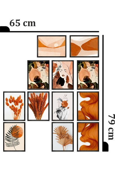 Dekorasna 12 Parça Çerçeve Görünümlü Mdf Tablo RMD19