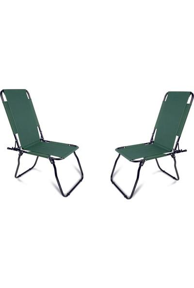 Romee Mira - Katlanır Piknik Kamp Plaj Sandalyesi 2'li Set Yeşil