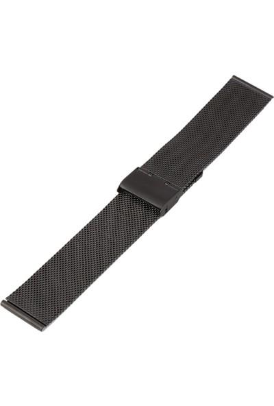 Aypa Spor Kalın Hasır Paslanmaz Çelik Saat Kordonu Siyah 22 mm