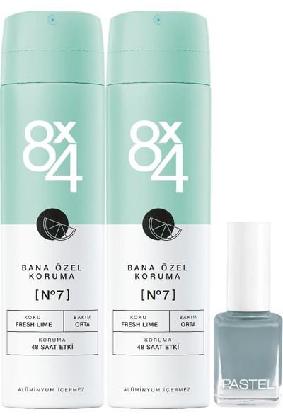8x4 No.7 Fresh Lıme Kadın Sprey Deodorant 150ml + Oje Hediye