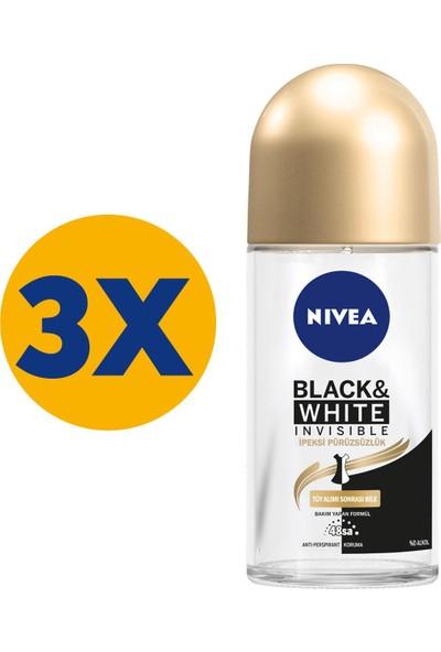Nivea Black & White Ipeksi Pürüzsüzlük Roll On 50 ml X3