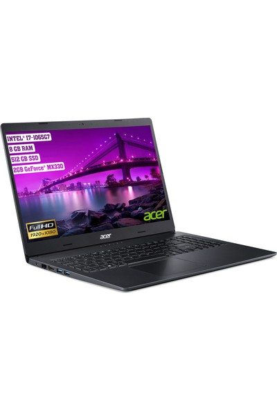 """Acer Aspire 3 A315-57G Intel Core i7 1065G7 8GB 512GB SSD MX330 Freedos 15.6"""" FHD Taşınabilir Bilgisayar NX.HZREY.006"""