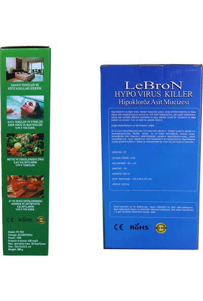 Lebron Ozon Jeneratörü 400 Mg/h + Lebron Hypo Virüs Killer Hipokloröz Asit Üretme Cihazı