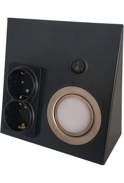 Yiğitled Iki Prizli Spot 5W LED Günışıgı Koyu Füme Fırın Boyalı