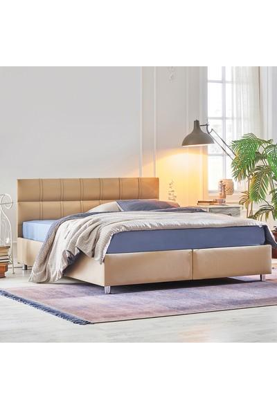 Yataş Bedding SOMNİ - DEEP Baza Başlık Seti (Çift Kişilik - 140x190 cm Deri - Sütlü Kahve)