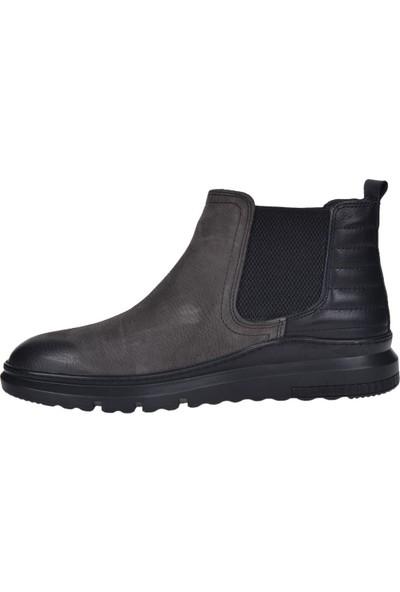 Bulldozer 190027 Gri Deri Bağsız Erkek Klasik Bot Ayakkabı