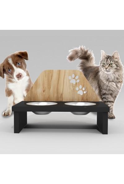 Can Amca Ahşap Köpek Mama Kabı - - Pati Desenli Özel Dizayn Kedi Köpek Mama Kabı