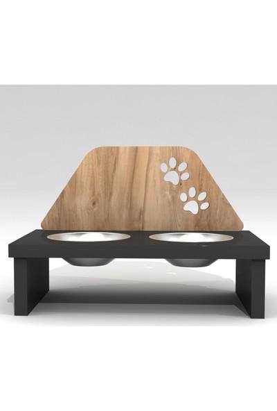 Can Amca Ahşap Kedi Mama Kabı - - Pati Desenli Özel Dizayn Kedi Köpek Mama Kabı