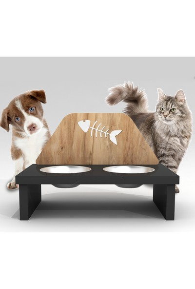 Can Amca Ahşap Kedi Mama Kabı - - Balık Desenli Özel Dizayn Kedi Köpek Mama Kabı
